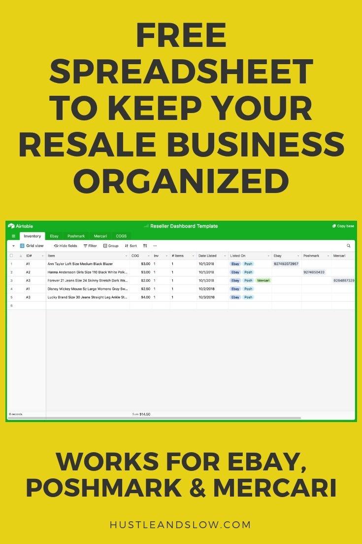FREE Reseller Spreadsheet for Inventory (Ebay Poshmark)