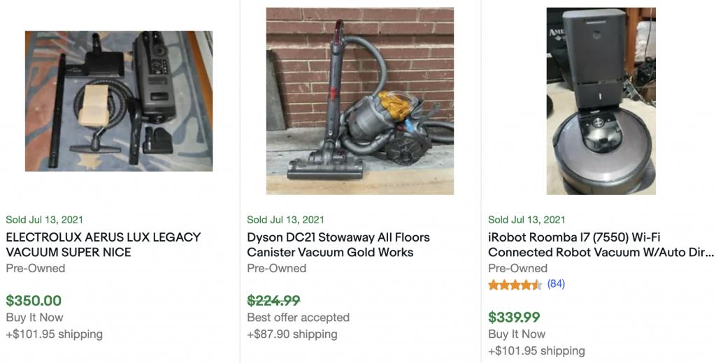 sold vacuums on ebay