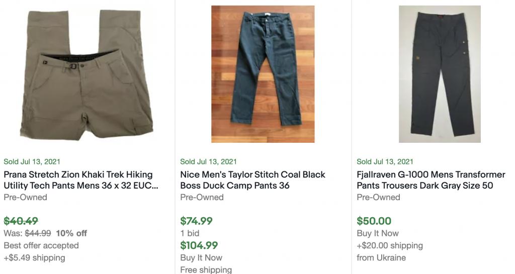 mens pants sold on ebay