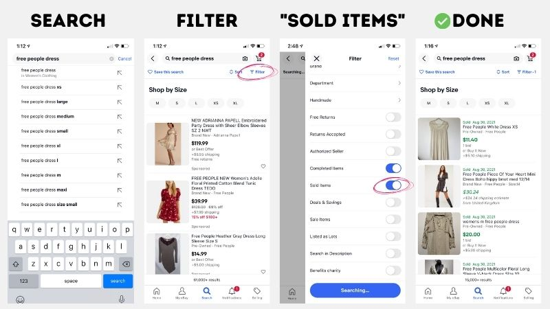 how to search sold listings on ebay app