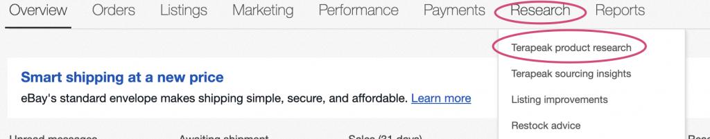 how to access terapeak on ebay